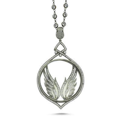 Taşlı Kanatlı Gümüş Büyüteç Kolye