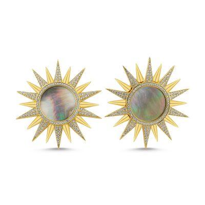 Sedefli Güneş Küpe