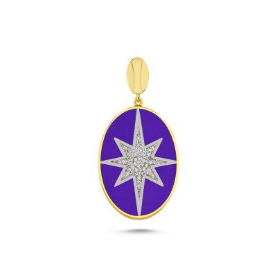 Yıldız Motifli Oval Kolye Ucu