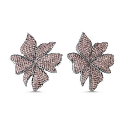 Açık Pembe Taşlı Çiçek Küpe