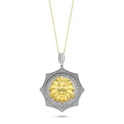 Taşlı Gümüş Aslan Madalyon