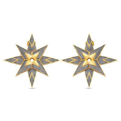 Yıldız Taşlı Büyük Küpe