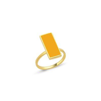 Sarı Mineli Kare Yüzük