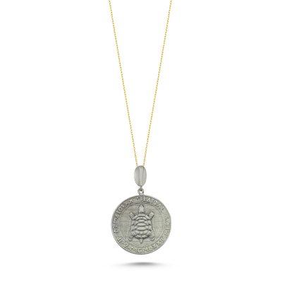 Kaplumbağa Gümüş Para Kolye