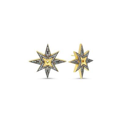 Yıldız Tek Sıra Taşlı Küpe
