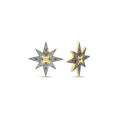 Yıldız Çift Sıra Taşlı Küpe