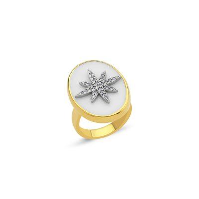 Oval Agate Taşlı Yıldız Yüzük