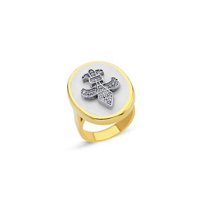 Oval Agate Taşlı Fleur-de-lis Yüzük