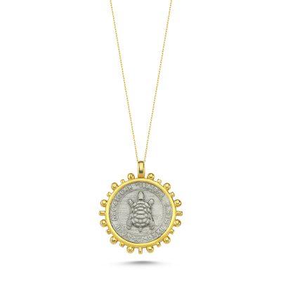 Kaplumbağa Güneş Madalyon Kolye