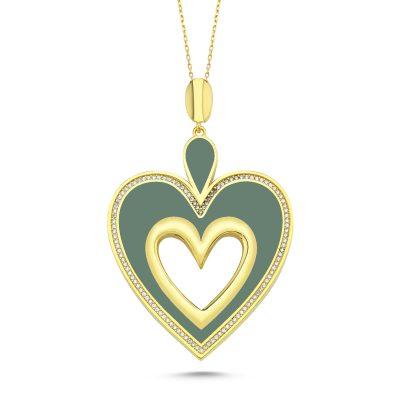 Yeşil Mineli Kalp Kolye