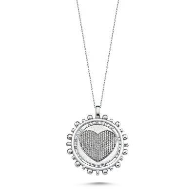 Madalyon Taşlı Kalp Kolye